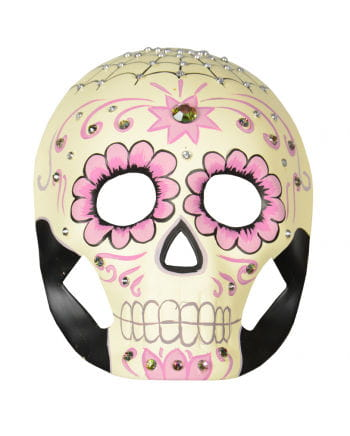 Day of the Dead mask with flowers and rhinestones