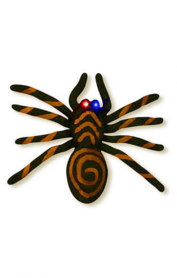 Orange spider with blinking LED eyes