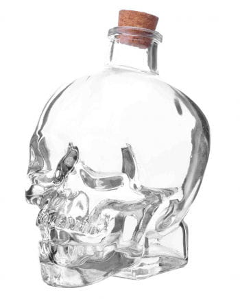 Skull glass bottle with cork