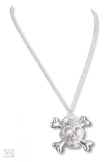 Halskette mit Strass-Totenkopf