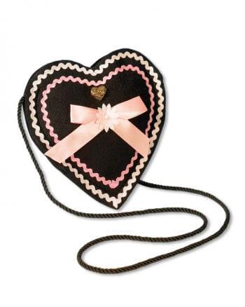 Trachtentasche Herzform schwarz- rosé