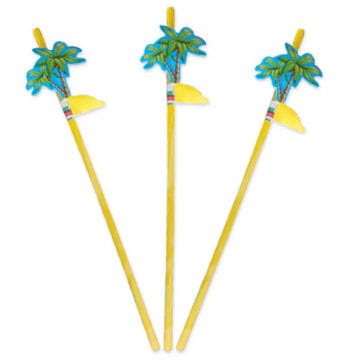 Drinking straws with palms Decoration