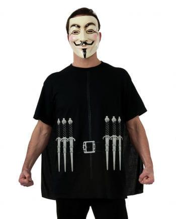 V wie Vendetta T-Shirt mit Cape & Guy Fawkes Maske XL