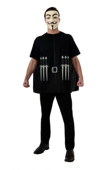 V wie Vendetta T-Shirt mit Cape & Guy Fawkes Maske