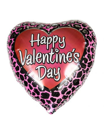 Valentine Heart foil balloon with leopard pattern