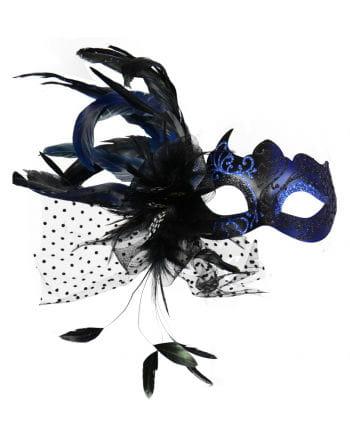 Venetian eye mask with feathers blue
