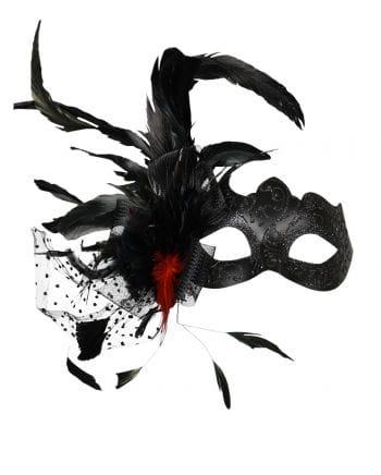 Venezianische Maske mit Federn schwarz