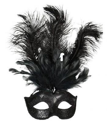 Venetian eye mask with black feathers