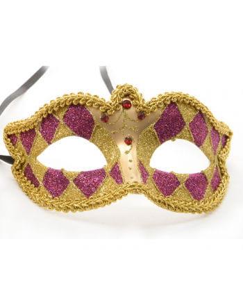 Venezianische Harlekin Augenmaske gold/violett