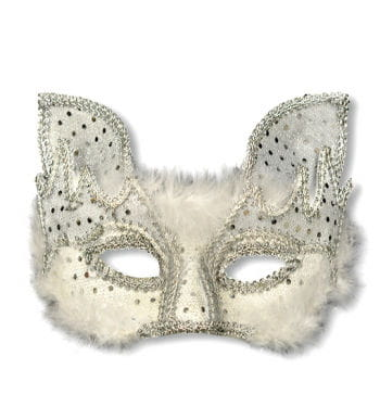 Venetian Mask Cat style white silver