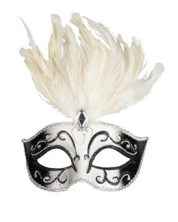 Venezianische Maske mit Federn und Schmuckstein