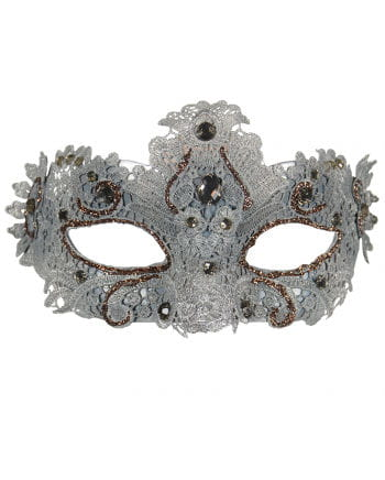 Venetian mask with lace silver