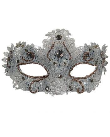 Venezianische Augenmaske mit Spitzenbesatz silber