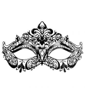 Augenmaske aus Metall mit Strass schwarz