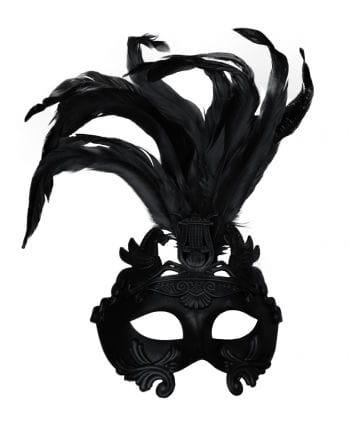 Altertümliche Augenmaske mit Federn schwarz