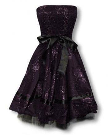 violettes Abendkleid mit Blütendruck XXL