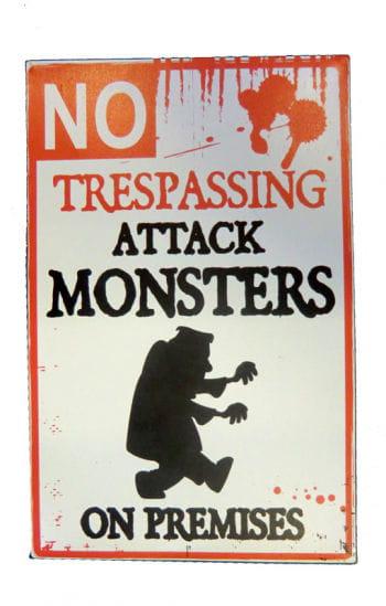 Halloween Warnschild Attackierendes Monster