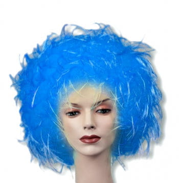 Wuschel Perücke blau
