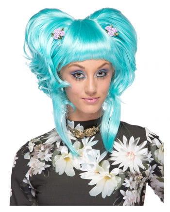 Damenperücke Yuki light blue