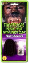 Theater hair dark brown with skin adhesive