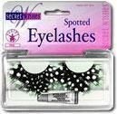 Feather eyelashes white polka dots