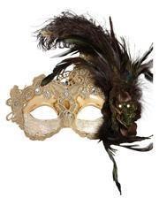 Venezianische Augemaske mit Federn beige/braun