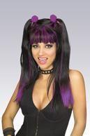 Cheerleader Wig Black/Purple