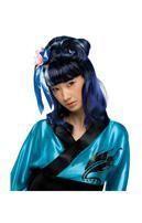 Schwarz-blaue Dragon Lady Perücke