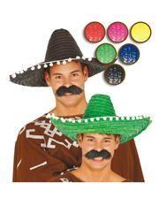 Coloured Sombrero with white pompoms