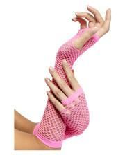 Fingerless fishnet gloves neon pink