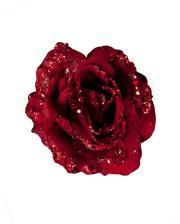 Glittering decoration rose with red clip