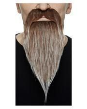 Ganoven Bart braun grau meliert