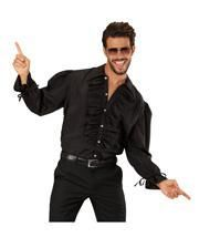 Schwarzes Herrenhemd mit Rüschen & Knöpfen