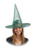 Lurex Witch Hat with Cobwebs Green