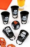 Skull shot glasses with dice