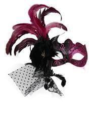 Venezianische Maske mit Federn Pink
