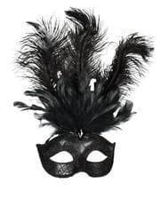 Schwarze venezianische Augenmaske mit Federn