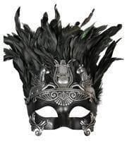 Altertümliche Augenmaske mit Federn schwarz/silber