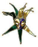 Venezianische Maske Jolly Frauenmaske  grün/gold