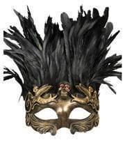 Venezianische Augenmaske mit Federn gold/schwarz