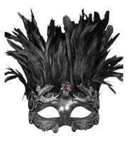 Venezianische Augenmaske mit Totenkopf & Federn silber/schwarz