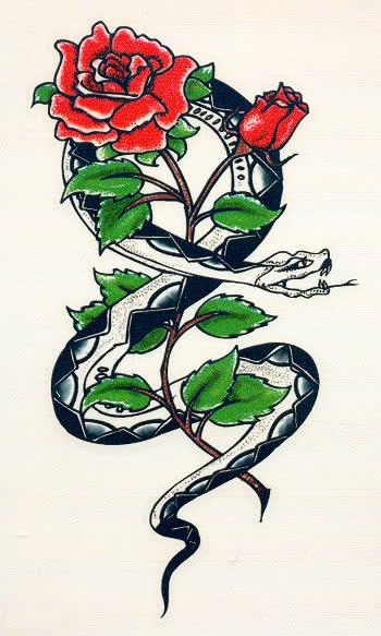 tattoo schlange und rose aufklebe tattoo f r karneval karneval universe. Black Bedroom Furniture Sets. Home Design Ideas