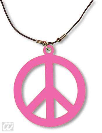 hippie kette neonpink peacezeichen als kost mzubeh r. Black Bedroom Furniture Sets. Home Design Ideas