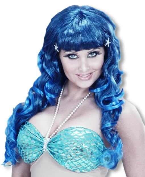 meerjungfrauen per cke blau kunsthaarper cken g nstig kaufen karneval universe. Black Bedroom Furniture Sets. Home Design Ideas