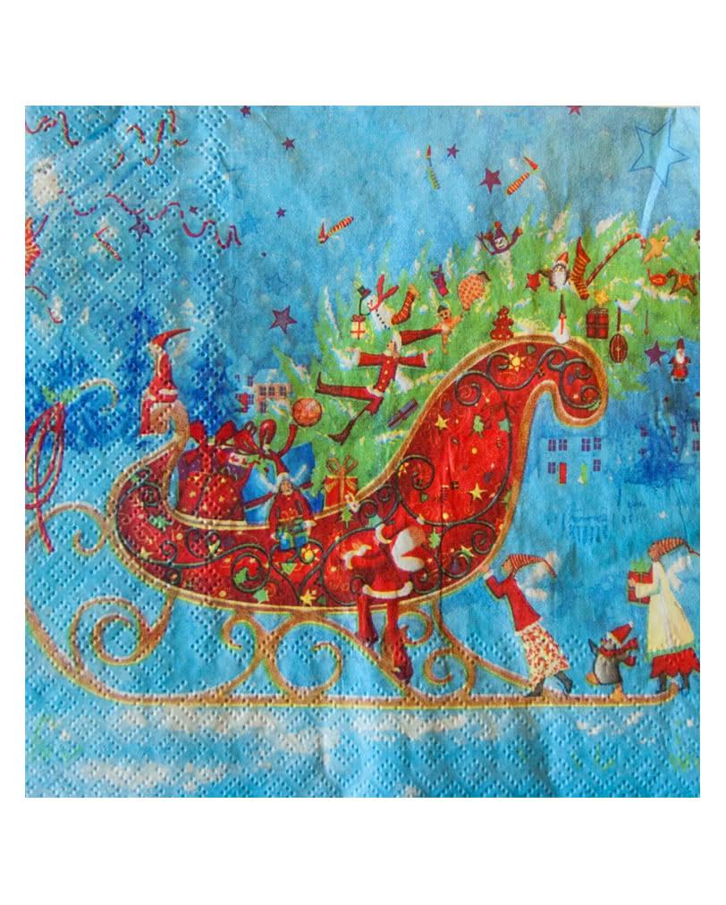 weihnachtsservietten mit schlittenmotiv feierliche weihnachtsservietten karneval universe. Black Bedroom Furniture Sets. Home Design Ideas