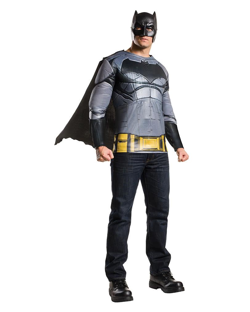 batman kost m shirt mit cape maske batman vs superman kost m karneval universe. Black Bedroom Furniture Sets. Home Design Ideas