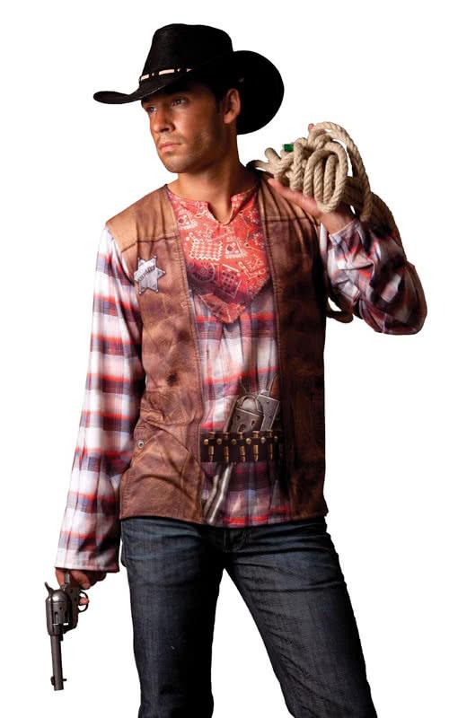 cowboy motiv t shirt bedrucktes cowboy t shirt f r herren karneval universe. Black Bedroom Furniture Sets. Home Design Ideas