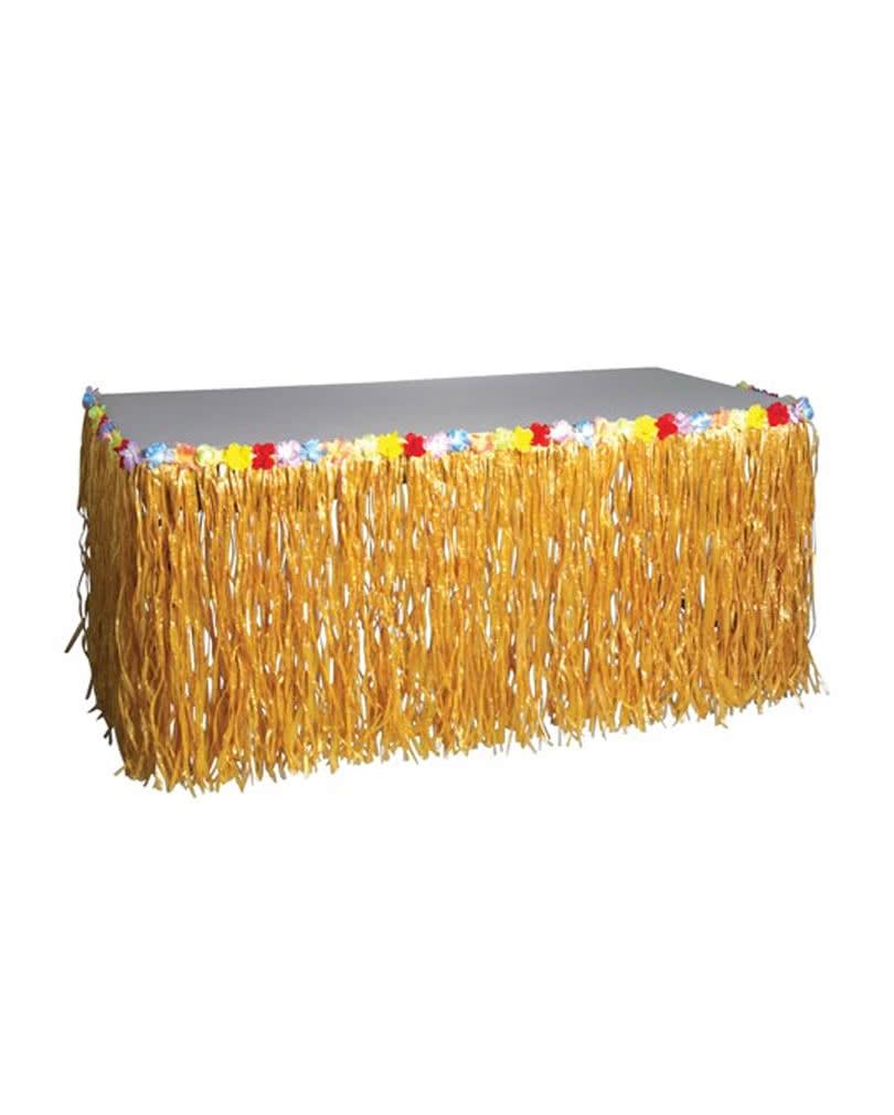 hawaii tischrock natur f r deinen strandparty tisch brauchst du den tischrock mit blumen zur. Black Bedroom Furniture Sets. Home Design Ideas