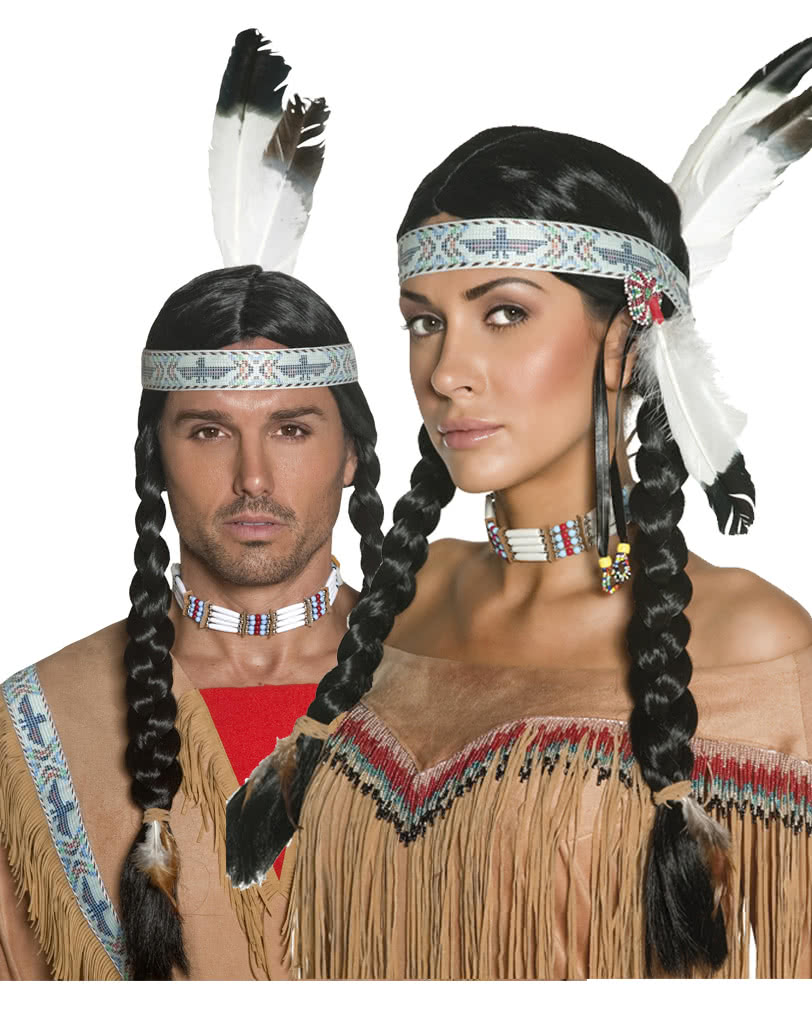 indianer per cke mit zopf unisex zopfper cke mit stirnband karneval universe. Black Bedroom Furniture Sets. Home Design Ideas