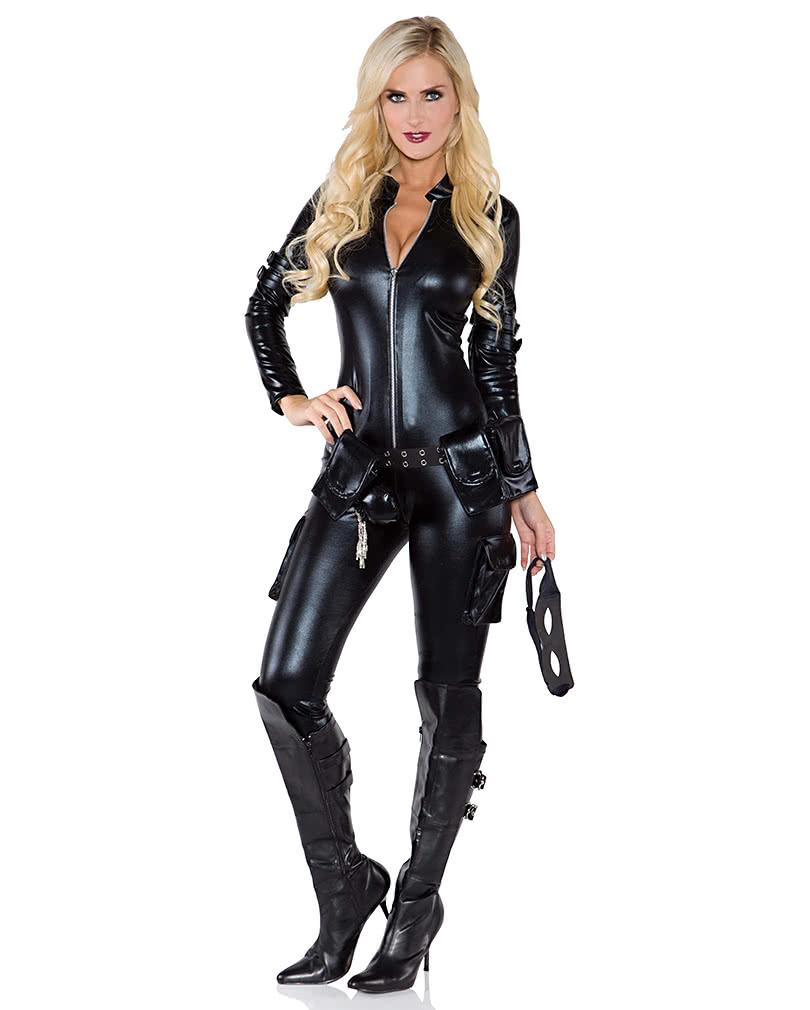 Schwarzer lack jumpsuit erotischer ganzk rperanzug karneval universe - Schwarzer wintermantel damen ...